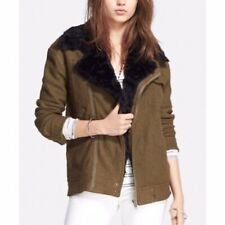 Free People Olive Green Faux Fur Trim Slouchy Zip Up Wool Moto Jacket Size Large
