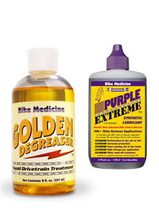 PURPLE EXTREME, the award winning chain lubricant PLUS GOLDEN DEGREASER