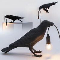 Bird Lamp Desk Light Resin Crow Bedroom Bedside Table Lamps Warm White US Plug