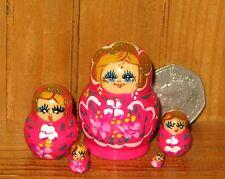 Russische Verschachtelung Puppe 5 Winzige Hellrosa Babuschka Matroschka