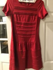 Eliza J Red Dress Size 6 Short Sleeve Stretch Designer Perfect Scoop Neck Zip