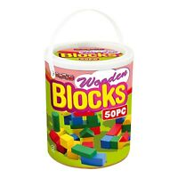 New Childrens 50pc Wooden Building Blocks Kids Construction Toy Bricks Set + Tub