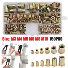 150pcs Rivet Nuts Flange Blind Nutserts Zinc Plated Carbon Steel M3-m10 Set