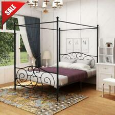 Queen Size Metal Canopy Bed Frame with Headboard Footboard Sturdy Iron -Sale!