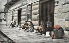 Squaws Selling Salmon Berries Sitka Alaska Postcard (c. 1907)