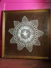 "New ListingVintage 11"" x 11"" Professionally Framed Crocheted Crochet Lace Doily Doilie"