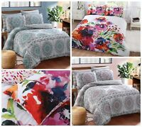 Abstract Floral Print Duvet Cover Reversible Quilt Set & Pillowcases All Sizes