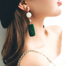Big Long Drop Earrings Green Gold Dangle Acrylic Wood Square Geometric Statement