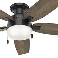 Hunter Fan 52 in Low Profile Matte Black Ceiling Fan with Light Kit & Pull Chain