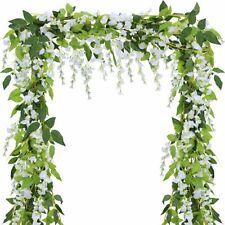 2Pcs Artificial Wisteria Vine 7FT Garland Plant Foliage Outdoor Trailing Flowers
