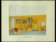 MALLET STEVENS, CHAMBRE - 1929 - POCHOIR, MODERNISME, ART DECO