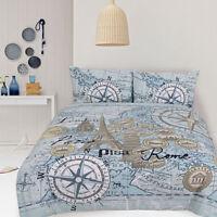 Retro Euro Map Paris Rome Vintage Quilt Doona Cover Set SINGLE DOUBLE QUEEN KING