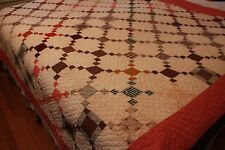 Antique Patchwork Quilt with Red and Brown Calico Fabric Hand Stitched
