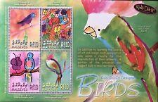 MALDIVES KIDS DID IT! DESIGNS BIRDS STAMP SHEET 2006 MNH ART PARROT WILDLIFE