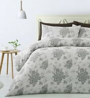 300TC Cecily Grey Floral Woven Jacquard Quilt Doona Cover Set - QUEEN KING