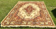 8x10 Oriental Area Rug, Red, Yellow, Blue, Tan, Floral Wool