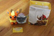 Pair of Pokemon Center Plush Flareon & Raikou plus AR Cards