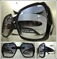 OVERSIZED EXAGGERATED VINTAGE RETRO Style SUN GLASSES Large Square Black Frame