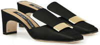 Sergio Rossi Women's squared toe heels mules sandals black Leather gold buckle