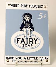 Vintage Fairy Soap Porcelain Sign 10 X 7 White Pure Floating
