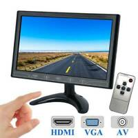 10 Inch LED Touchbutton Display Screen CCTV Security AV/VGA/HDMI Monitor DC 12V