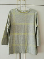 TU WOMENS GREY YELLOW 3/4 SLEEVE BLOUSE TOP SIZE 12 STRETCH CREW NECK LENGTH 24