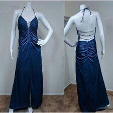 Morgan & Co Blue Diamond Strap Dress Formal Cocktail VTG 90s sz 5/6 Stretch Prom