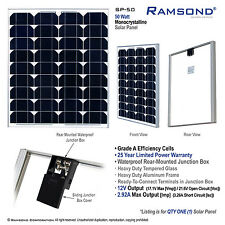 50 Watt Output Mono Crystalline Solar Panel 12V Efficient Alternative Energy RV