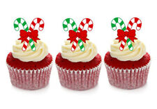 12 STAND UP CHRISTMAS CANDY CANE EDIBLE WAFER CUPCAKE CUP CAKE TOPPERS IMAGES