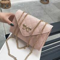 Women Quilted Chain Purse Bag Leather Shoulder Bag Girl Crossbody Wallet Handbag