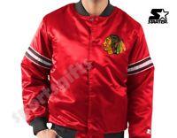 Chicago Blackhawks NHL Hockey Classic Varsity Satin Starter Jacket Men's New