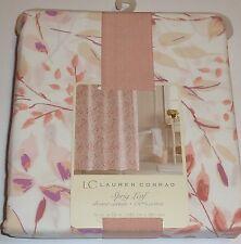 New Lauren Conrad Sprig Leaf Floral Fabric Shower Curtain 100% Cotton NWT