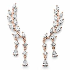 PalmBeach Jewelry Crystal Rose Gold-Plated Leaf Ear Climber Earrings 1 5/8""