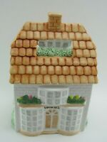 Vintage Ceramic House Shaped Cookie Jar Canister