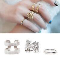 Women Charm Hollow Flower Finger Ring Set Retro Knuckle Rings Chic Leaf Ring3C
