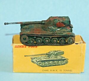 DINKY Meccano FRANCE Military 1952 CHAR A.M.X. 13 TONNES 80C BOXED 'camouflaged'