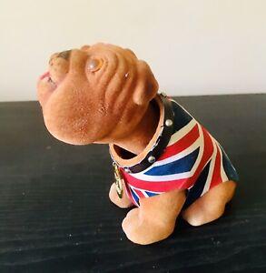 British Bulldog Car Nodder Dog  - Flocked Figurine  - Bobble Head
