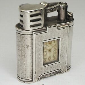 DUNHILL Lighter Racing model  with watch- Silver 925 - England Art Deco