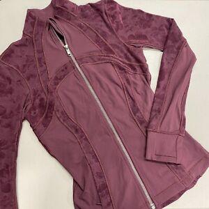 Lululemon Define Jacket Hidden Floral Print Front Logo Full Zip Purple Size 4