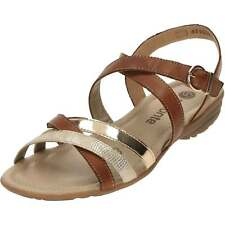Remonte Flat Strappy Gladiator Tan Leather Sandals R3631-22 Gold Crossover Strap
