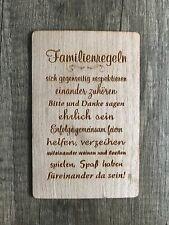 Grußkarte aus Holz Geschenk Karte Geschenkkarte Familie Familienregeln Regeln