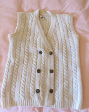 CLASSIC CABLE KNIT DOUBLE BREASTED IVORY SWEATER VEST CHEST SIZE 38