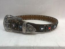 Nocona Belt Co Girl's Size 22 Brown Leather Belt w/ Colored Hearts & Rhinestones