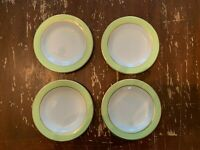 Vintage Pyrex Lime Green With Gold Trim 6.75 Inch Dessert Plate Set Of 4 E