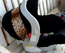 baby infant car seat cover And Hood Cover Black Minky With Leopard / Cheetah