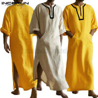 100%Cotton Mens Saudi Arab Islamic Clothing Kaftan Long Sleeve Thobe Robe Tunic