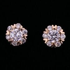 18K Gold Filled - Clear Zircon Snowflake Stud Flower Fashion Prom Girls Earrings