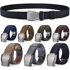 Men's Webbed Belt, Metal Buckle Outdoor Tactical Nylon Belt, Adjustable Length