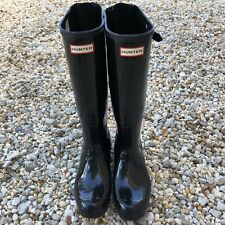 Hunter Women's Black Gloss Rubber Rain Boots Original Tall 9 MED WFT1000RGL