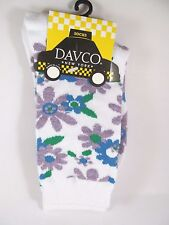 Davco Blue Purple Flowers Socks Womans White Acrylic Blend Sock New